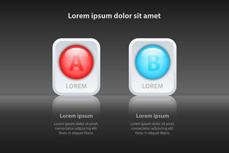 Colorful Two topics 3d circle on white square and reflection glossy for presentation cover poster vector design infographic illustration concept