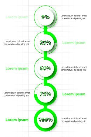 Cercle 3d vert avec le niveau de pourcentage sur la chronologie pour la présentation de site Web couverture affiche vecteur conception infographie illustration concept Illustration