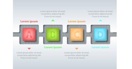 Quatre sujets de carré 3d coloré dans la ligne de temps sculpter modèle blanc sur la grille blanche pour la présentation de site Web couverture affiche vecteur concept infographie illustration
