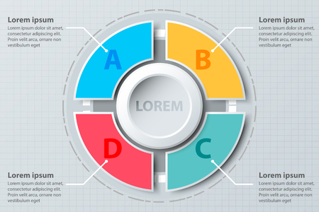 Quatre sujets coloré camembert 3d papier avec cercle au centre pour la présentation du site Web couverture affiche vecteur conception infographie illustration concept