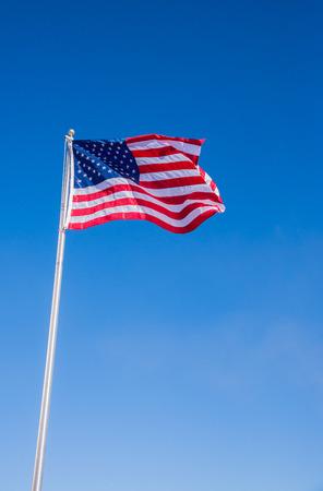 USA, Américain, drapeau, onduler, clair, bleu, fond, ciel, Veritcal, vue