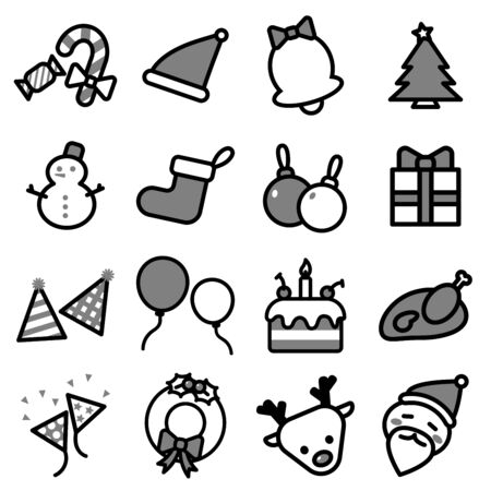 Collection set of Simple line isolated Christmas icons on white background for graphic illustrator design.
