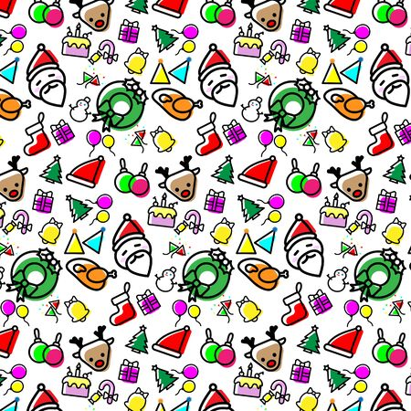 Colorful Christmas icons seamless pattern vector design concept on White background.