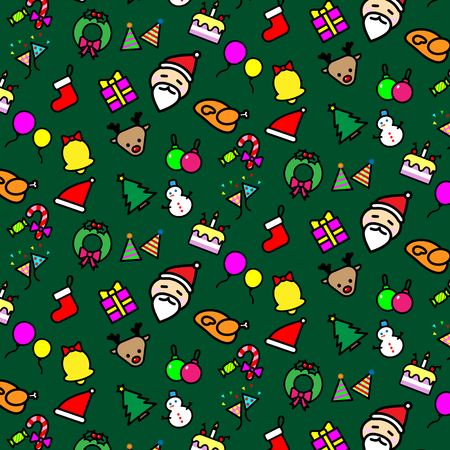 Colorful Christmas icons seamless pattern vector design concept on green background.