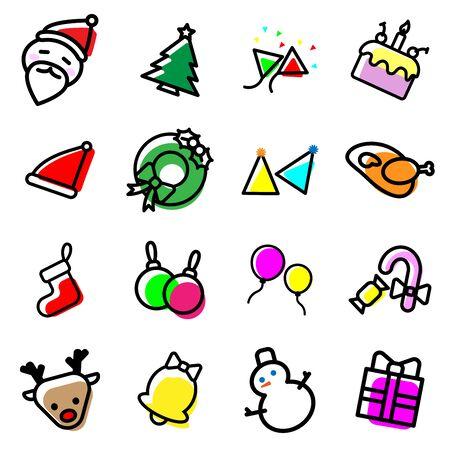 Ensemble de collection d'icônes de Noël colorés