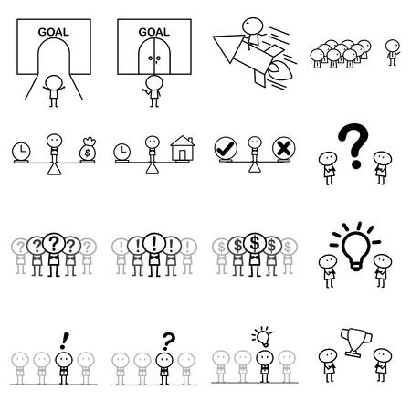 Ensemble de personnage de ligne simple de dessin animé pour le concept d'idée d'affaires