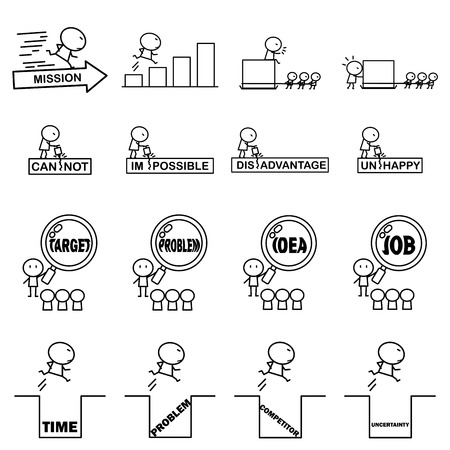 Set of Cartoon simple line character for Business idea concept