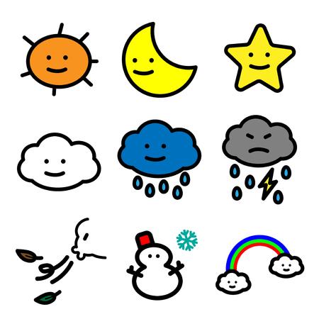 Ligne simple d'icônes de Météo Cartoon coloré