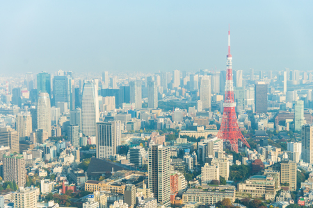Tokyo Tower with many building office in business area