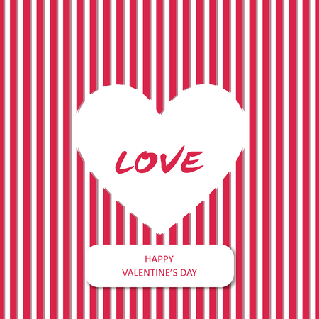 Simple white heart with love word on red stripe background for valentine card concept idea design Illustration