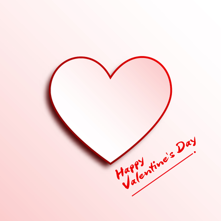 White heart paper 3D on White background for Happy Valentine Day concept graphic design