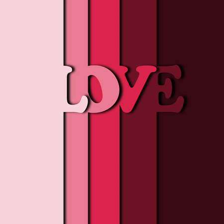 Abstract pink layer paper cut of love word for Valentine card graphic idea design concept