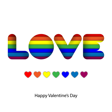 Abstract rainbow colorful paper craft layer in love word for valentine and LGBT pride graphic design idea concept