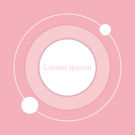 White circle button icon sign on pink pastel background for business graphic concept idea
