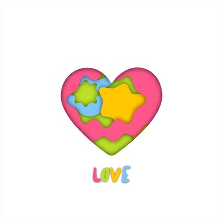 Colorful art paper craft of heart for valentine graphic design idea concept