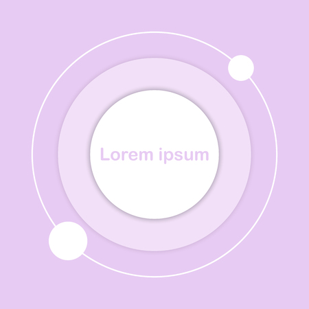 White circle button icon sign on purple pastel background for business graphic concept idea Illustration