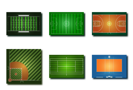 Variety sport fields icon for American football soccer, basketball, baseball, tennis, volleyball with graphic vector design concept