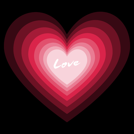 Lovely beautiful pink heart in multi layer with white love word in valentine concept idea design on black background