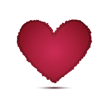 Realistic red denim texture of heart vector icon illustration design for valentine concept idea