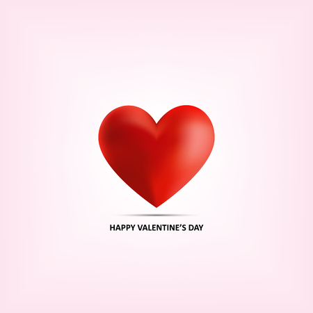 Realistic red heart 3D on pink background for romantic valentine day Illustration