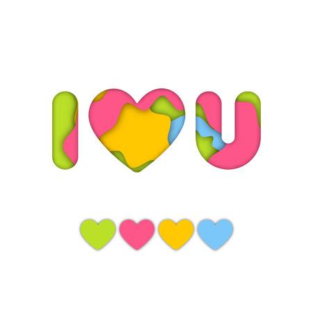 Artesanato de papel colorido arte de eu te amo palavra para o conceito de idéia de design gráfico dos namorados Foto de archivo - 94897967