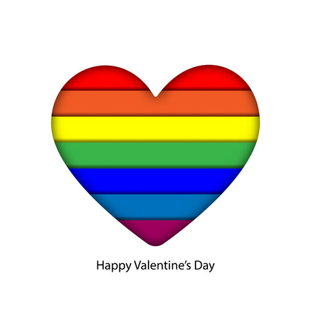 Abstract rainbow colorful paper craft layer in heart for valentine and LGBT pride graphic design idea concept