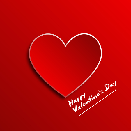 Red heart paper 3D on red background for Happy Valentine Day concept graphic design