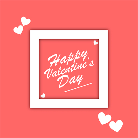 Simple concept white frame with Happy Valentine Day word in center for valentine concept idea on pink background
