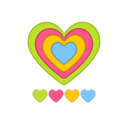 Colorful layer art paper craft of heart for valentine graphic design idea concept