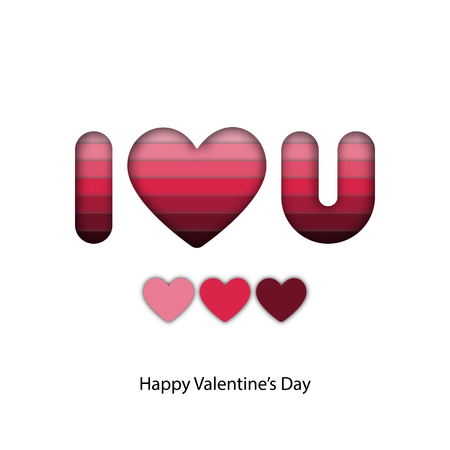 Abstract paper craft of pink layer in I love you word for valentine graphic design idea concept