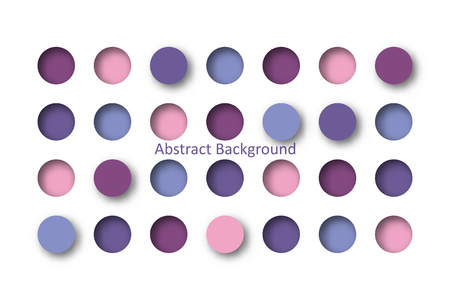 Abstract 3d purple circle tile in paper cut concept for background idea graphic design vector. Vettoriali
