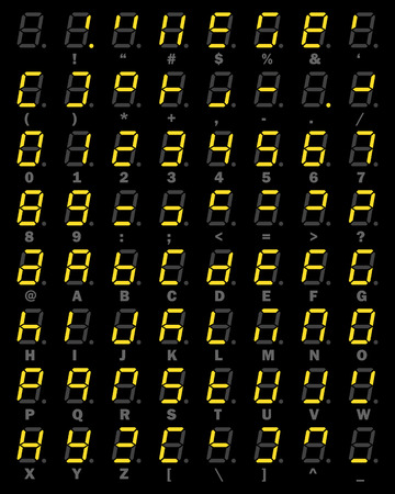 Yellow LED Digital number and alphabet symbol set of seven segment type on black background for graphic idea design concept Vectores