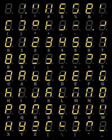 Yellow LED Digital number and alphabet symbol set of seven segment type on black background for graphic idea design concept Illustration