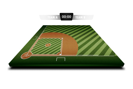 Realistic Denim texture of Baseball field 3d with score board for element vector illustration design concept