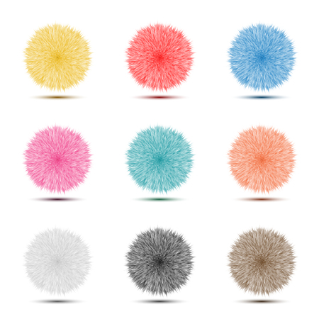 Set of colorful Pompon Fluffy hairy ball icon for abstract idea graphic design concept