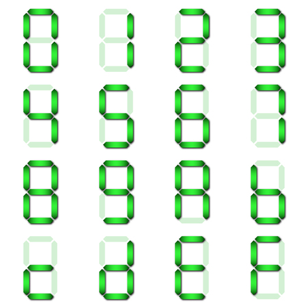 Green Digital number set of seven segment type on isolate white background for graphic idea design paper cut concept