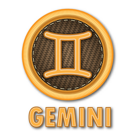 Embroidered patch work of Gemini zodiac sign symbol icon for vector graphic design concept idea