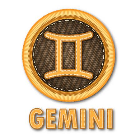 Embroidered patch work of Gemini zodiac sign symbol icon for vector graphic design concept idea