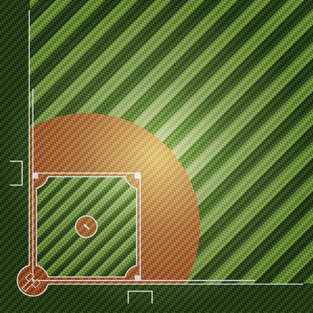 Realistic embroidered patch work texture of Baseball field element vector illustration design concept Illustration