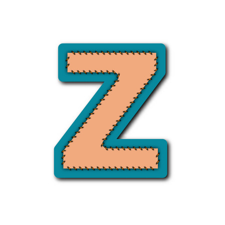 Z charactor of alphabet in Embroidered patch work concept for vector graphic idea design