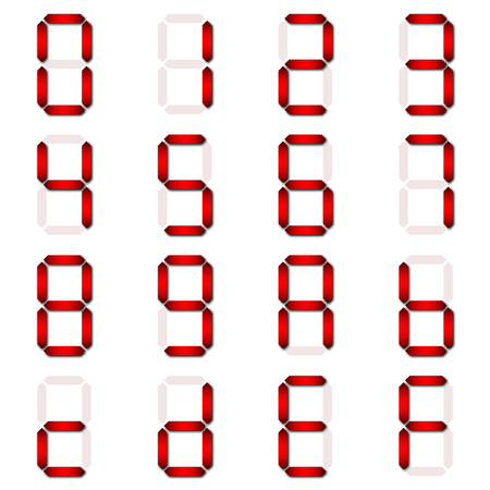 Red Digital number set of seven segment type on isolate white background for graphic idea design paper cut concept