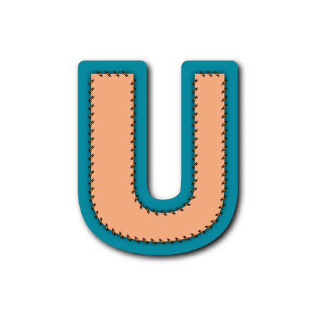 U charactor of alphabet in Embroidered patch work concept for vector graphic idea design Vettoriali