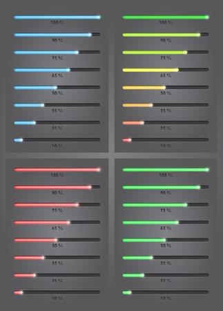 Colorful download progressive striped bar in percentage for vector graphic design concept