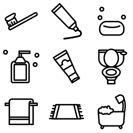 Simple outline of variety equipment in toilet on white background Vecteurs