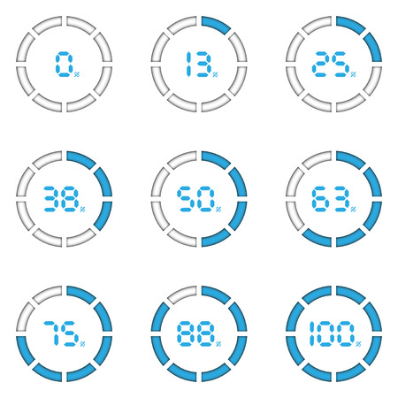Nine status of download progress in blue stripe with white circle for vector graphic design concept