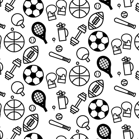 Simple pattern background outline of variety sport icon on white background 矢量图像