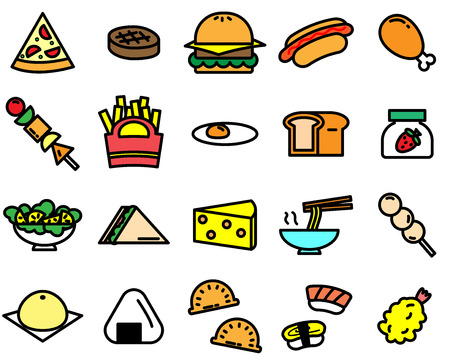 Colorful of variety food icon on white background Illustration