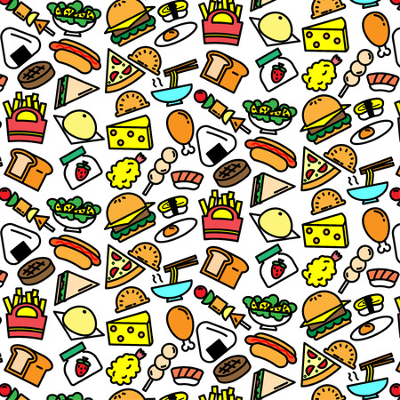 Colorful pattern background of variety food icon on white background