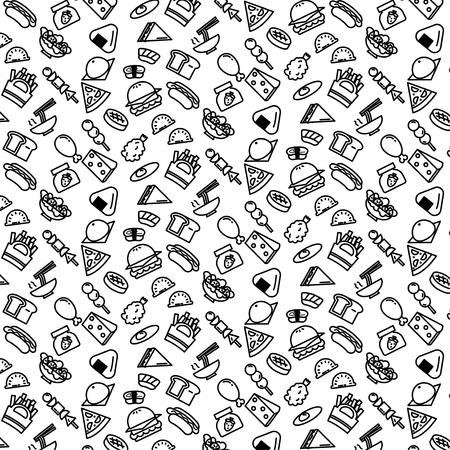 Einfache Musterhintergrundskizze des Sortennahrungssymbols auf weißem Hintergrund