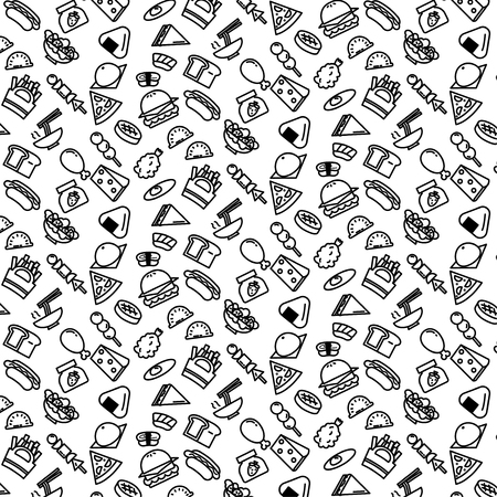Simple pattern background outline of variety food icon on white background Иллюстрация